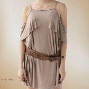 LA Made taupe Iris off shoulder flounce dress S